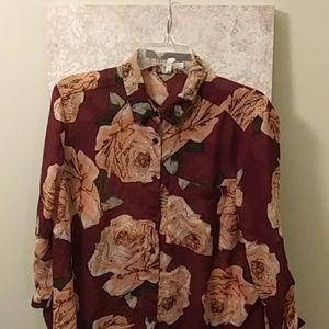 Large floral tunic type button up blouse